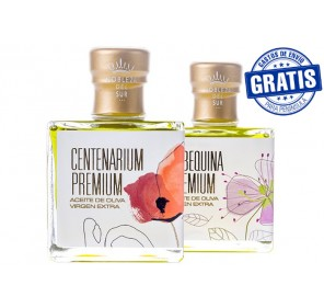 Nobleza del Sur, Centenarium premium + Arbequina premium. Box of 15 + 15 units x 100 ml.