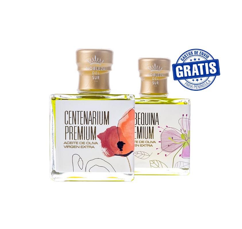 Nobleza del Sur, Centenarium premium + Arbequina premium. Caja de 15 + 15 unidades x 100 ml.