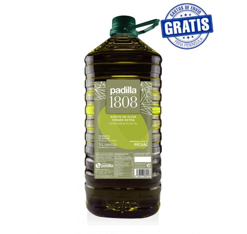 Padilla 1808. Extra Virgin Olive Oil. Box of 3 x 5 Liters.