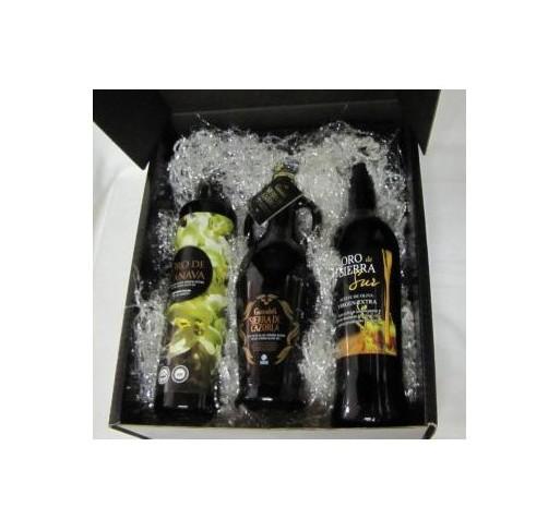 Case three oils bottles of Jaen